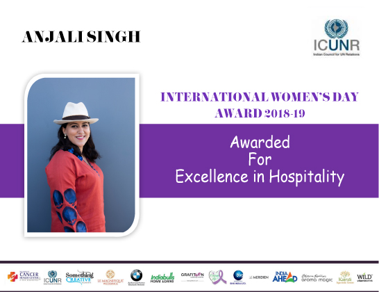 Mrs. Anjali Singh receives the prestigious International Women's Day Award from ICUNR